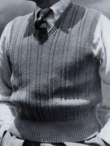 Sleeveless Ribbed Pullover knit pattern from Sweaters for Men & Boys, originally published by Jack Frost, Volume No. 40, from 1947.