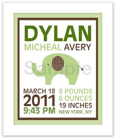 Mod Green Elephant Nursery Wall Art Birth Announcement Printable Print Your Own 8X10. $8.00, via Etsy.