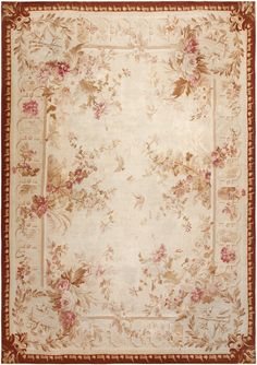 Antique Aubusson Carpet 46486 Detail/Large View - By Nazmiyal