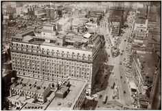 """The Hotel Astor on Times Square circa 1916. Note roof garden and, at lower right, the elaborate marquee for the film """"Civilization."""" (George Grantham Bain Collection.) The building, at 1515 Broadway and West 44th Street, was demolished in 1967 and replaced by, in the words of one architecture critic, a """"hideous tall office tower,"""" 1 Astor Plaza, whose crownlike top is a familiar sight from across the Hudson River in New Jersey."""