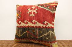 Modern kilim pillow cover 16 x 16 Striped Kilim by kilimwarehouse, $53.00