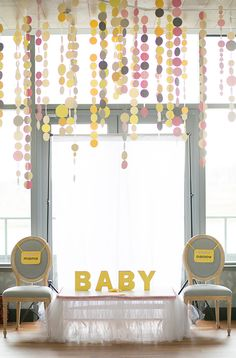 Yellow and grey baby shower | Shop. Rent. Consign. MotherhoodCloset.com Maternity Consignment
