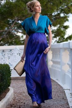 Colour Block Silk Maternity Maxi Gown - Seraphine