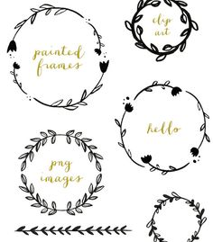 Handpainted Branches Wreath Clip Art by FieldandFountain on Etsy, $3.00