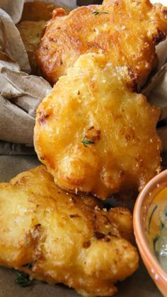 Cauliflower Fritters with Dipping sauce Recipe ~ Says: This batter is so versatile that you can pretty much use it with anything – I had cauliflower, but it can work with zucchinis, eggplant, mushrooms, carrots and corn to name a few.