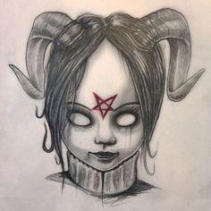 Baby satan n. Demon Drawings, Creepy Drawings, Dark Art Drawings, Art Drawings Sketches Simple, Satan Drawing, Arte Horror, Horror Art, Dark Art Illustrations, Illustration Art