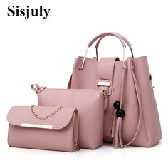 dd76dec8c4 3Pcs Sets Women Handbags Leather Shoulder Bags Female Large Capacity Casual  Tote Bag Tassel Bucket