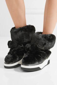 MICHAEL Michael Kors | Nala textured-leather and faux-fur boots | NET-A-PORTER.COM