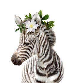 Printable Art by Jenny Kun 🐰 Save instantly on by TheCrownPrints Happy Animals, Cute Baby Animals, Zebra Illustration, Zebra Art, Baby Zebra, Cow Art, Cute Animal Drawings, Animal Decor, Animal Tattoos