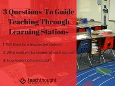 3 Questions To Guide Teaching Through Learning Stations by Suzy Pepper Rollins Learning Stations, Learning Spaces, Student Learning, In High School, I School, School Stuff, School Subjects, Instructional Design, Student Engagement