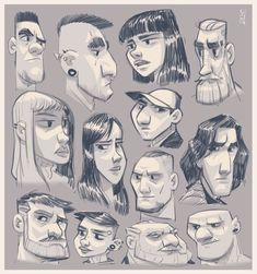 ArtStation - Studies of people, Meybis Ruiz Cruz Cartoon Head, Drawing Cartoon Characters, Cartoon Drawings, Cartoon Expression, Indian Illustration, Portrait Cartoon, Black Comics, Drawing Reference Poses, Cool Sketches