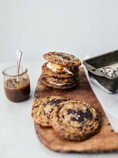 Banoffee Ice Cream Sandwiches (Banana & Yogurt Ice Cream) with Chocolate Chip Cookies & Tahini Salted Caramel By Izy Hossack