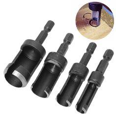 4Pcs/Set Carbon Steel Wood Plug Cutter Set Cutting Drill Bit Tool Hex Shank 6-16mm