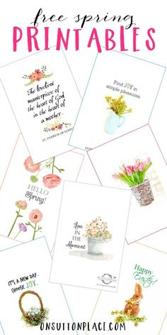 Spring Printables   Collection of original printables perfect for DIY wall art, cards, crafts, screensavers and more! Free and ready to download instantly.