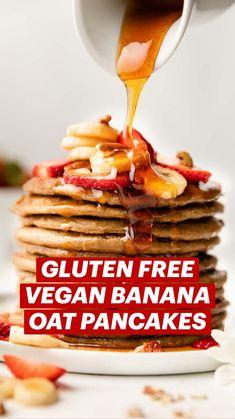 Healthy Muffin Recipes, Vegan Breakfast Recipes, Healthy Baking, Vegan Recipes, Free Recipes, Gluten Free Pancakes, Gluten Free Oats, Sugar Free Desserts, Vegan Desserts