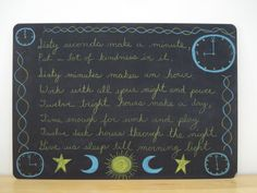 Waldorf ~ 3rd grade ~ Math ~ Measurement ~ Time ~ Verse ~ chalkboard drawing