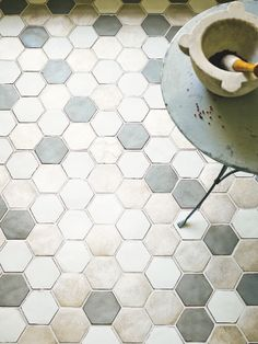 Geometric flooring adds instant impact, and there's plenty of choice. You don't have to go bright and bold to make a statement; try subdued hues for a subtler style, but opt for interesting shapes and textures. Marrakech Hexagon tiles by Fired Earth.