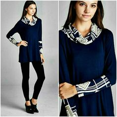 CLASSY PRINTED COWL NECK TOP New long sleeve navy blue top with printed cowl  neck & sleeves.   Available in S,M,L  WARDROBE GOALS HP Please comment size Made in USA  Price is final 4 Bidden Boutique Tops