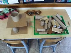 "A tray full of miscellaneous open-ended materials to be used for stacking, building etc - at Immanuel Lutheran Preschool ("",)"