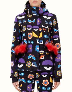 6a81665edb FENDI SKI JACKET - in multicoloured printed technical fabric and fur Ski  Fashion