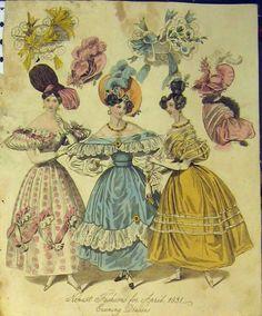 [1831 Womens Fashion Evening Dresses Hats Colour Print]