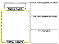 Animal Habitat Forms. Attached are two forms, for students touse to describe animals, habitats, and interesting facts.Also there are 7 placem...
