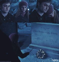 The grave of James and Lily Potter.  Hermione performs a bit of lovely magic and a lighted wreath appears.