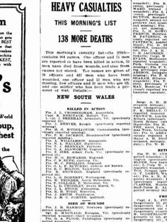 138 More Deaths. The Sun, Sydney - 9 Sept. 1916, WW1