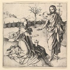 Biblical Gardens - After the Resurrection - Jesus as a Gardener - Noli Me Tangere Noli Me Tangere, Caspar David Friedrich, Martin Schongauer, Santa Maria Magdalena, Easter History, Marie Madeleine, Biblical Art, Mary Magdalene, National Gallery Of Art