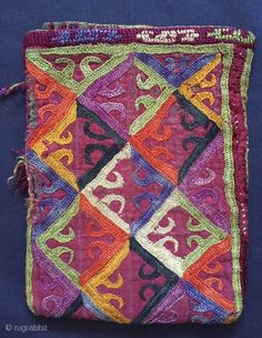 Excellent example of Antique Turkoman / Turkmen Ersari tribe silk embroidered bag dating to late 19th century.