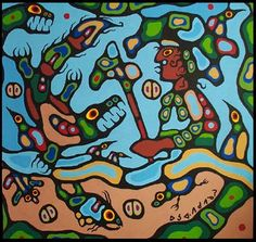Norval fighting Demon by Norval Morrisseau Native Canadian Artist Native American Artists, Canadian Artists, Woodlands School, Fighting Demons, Kunst Der Aborigines, Native Canadian, Inuit Art, Famous Art, Indigenous Art