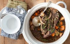 German Style Pot Roast (slow cooker) This+super-tender+pot+roast+gets+a+hint+of+sweetness+from+apple+cider+and+intriguing+flavor+from+caramelized+onions+and+slow-cooked+red+cabbage. Slow Cooker Roast, Slow Cooker Recipes, Crockpot Recipes, Cooking Recipes, Beef Chuck Roast, Whole Foods Market, Pot Roast, Whole Food Recipes, Smoker Cooking