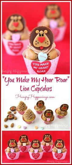 Turn Reeses Cups into adorably cute lions using caramel and heart sprinkles then use them to make Lion Cupcakes with You Make My Heart Roar Cupcake Wrappers for Valentines Day. Lion Cupcakes, Cute Cupcakes, Heart Cupcakes, Animal Cupcakes, Valentine Day Cupcakes, Valentines Day Treats, Valentines Baking, Valentine Party, Kids Valentines
