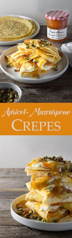 Crepes with Apricot & Whipped Mascarpone Filling | brinasbites.com @Brina's Bites #SayItWithHomemade #BonneMaman