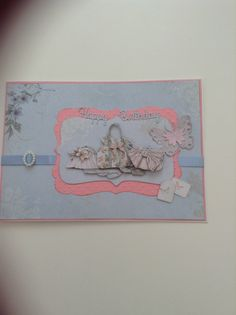 A5 card using Papermania Bellisima collection and dies from Spellbinders and Marianne