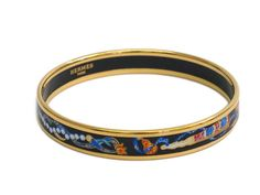 #HERMES Enamel Bangle Narrow Cloisonne/Palladium Black/Gold (BF108810): #eLADY global accepts returns within 14 days, no matter what the reason! For more pre-owned luxury brand items, visit http://global.elady.com