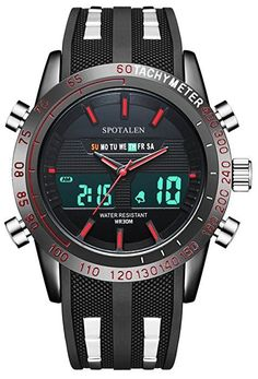 Men's Sport Watches Analog Digital Luminous Military Multifunction Wrist Watch in Red Markers and Hands: Amazon.ca: Watches