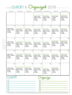 FREE Cleaning Calendar for May - Clean Mama