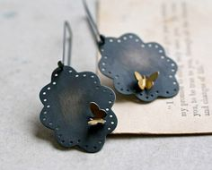Sterling Eyelet and Butterflies Dangle Earrings