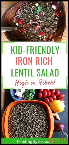 This kid-friendly iron-rich lentil salad is one of my family's recent favorites. Lentils are rich in protein, iron, and fiber, the important nutrients for kids and adults of all ages. This is an easy-to-prepare recipe that's suitable for the whole family. Picky Eater Lunch, Picky Eaters Kids, Lentil Recipes, Vegetarian Recipes, Vegetarian Kids, Vegetarian Salad, Baby Food By Age, Baby First Foods, Kid Friendly Dinner