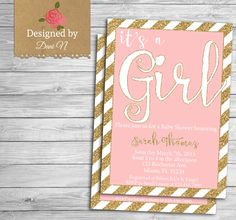 New to DesignedbyDaniN on Etsy: baby shower Invitation girl baby shower pink and gold invitation printable shabby chic baby pink glitter gold stripes invite (15.00 USD)
