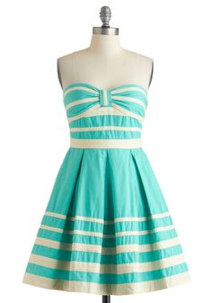 Along These Shorelines Dress - Green, Tan / Cream, Stripes, Pleats, Party, Strapless, Summer, Fit & Flare, Vintage Inspired, Pastel, Cotton, Mid-length, Daytime Party, Sweetheart, Beach/Resort