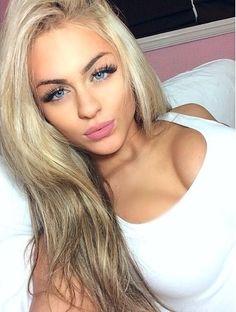 platinum hair & long lashes