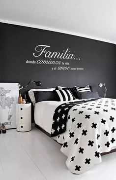 This Familia Donde Comienza la Vida y el Amor Nunca Termina Wall Vinyl Decal Spanish Quote is just one of the custom, handmade pieces you'll find in our quotations shops. Black Bedroom Design, Bedroom Black, Master Bedroom Design, Home Interior, Interior Design, Sweet Home, Sweet 16, Bedroom Decor, Bedroom Ideas