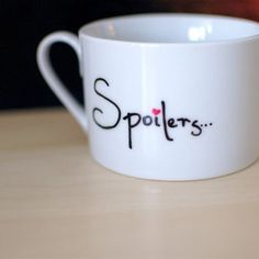 "Doctor Who River Song ""Spoilers"" with Heart Hand Painted Mug"
