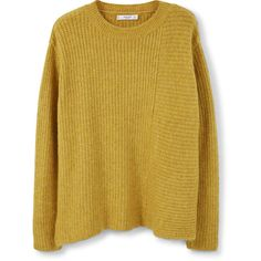 Side Slits Sweater (€49) ❤ liked on Polyvore featuring tops, sweaters, side slit sweater, yellow sweater, cableknit sweater, yellow long sleeve top and mango sweater