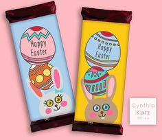Easter Bunny Hershey Bar Wrapper // Chocolate by #CynthiaKatzDesign #easter #forkids