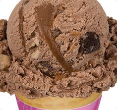 Forks down, spoons up for Swiss chocolate ice cream with coconut, walnut pieces, and fudge brownie pieces. Oh and let's not forget the caramel swirl! Swiss Chocolate, German Chocolate, Chocolate Ice Cream, Chocolate Cake, Baskin Robbins, Fudge Brownies, My Favorite Food, Favorite Recipes, Banana Nut