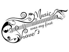 Music was my first love. music tattoo idea shaped as a guitar/bass, Tattoo, Music was my first love. music tattoo idea shaped as a guitar/bass. Love Music Tattoo, Music Tattoo Designs, Music Tattoos, Body Art Tattoos, Tatoos, Music Designs, Music Symbol Tattoo, Music Drawings, Tattoo Drawings