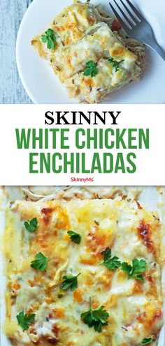 Our Skinny White Chicken Enchiladas are rich and creamy, but skip the high fat and calorie content of traditional creamy enchiladas! dinner for 1 Skinny White Chicken Enchiladas White Chicken Enchiladas, Healthy Chicken Enchiladas, Healthy Chicken Recipes, Healthy Cooking, Healthy Dinner Recipes, Mexican Food Recipes, Healthy Low Calorie Dinner, Dessert Recipes, Healthy Fats
